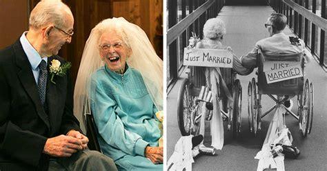 elderly couple wedding  proving youre