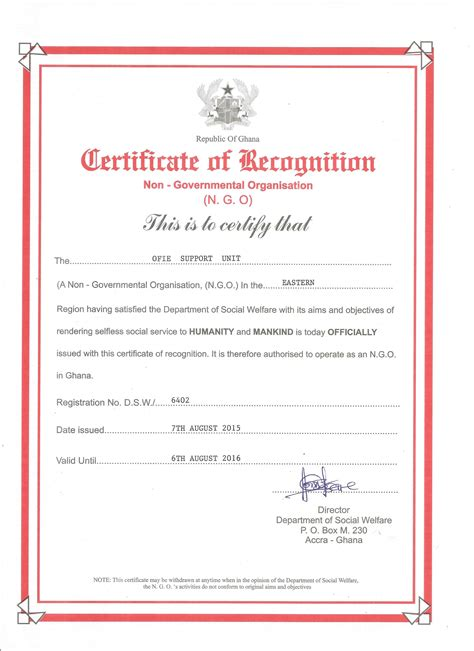 company registration form ghana ofie support unit ngo constitution