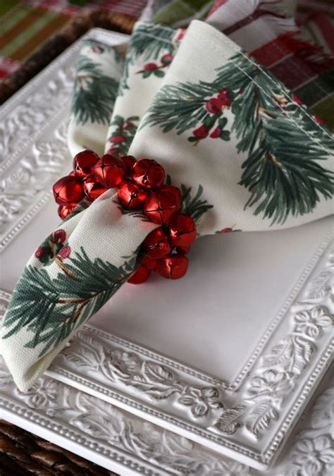 cute christmas napkin rings  polish  table decor