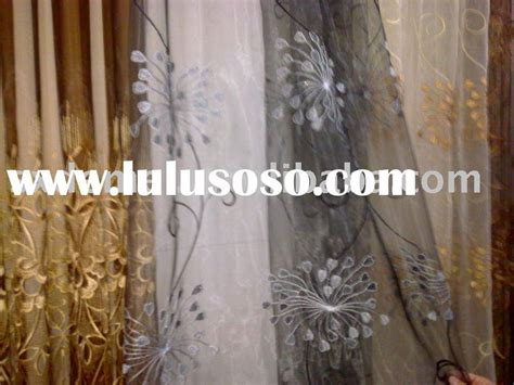 embroidered sheer curtains organza geometric design fabric