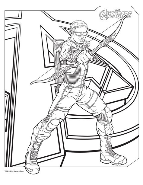 hawkeye colorsheets avengers coloring pages avengers