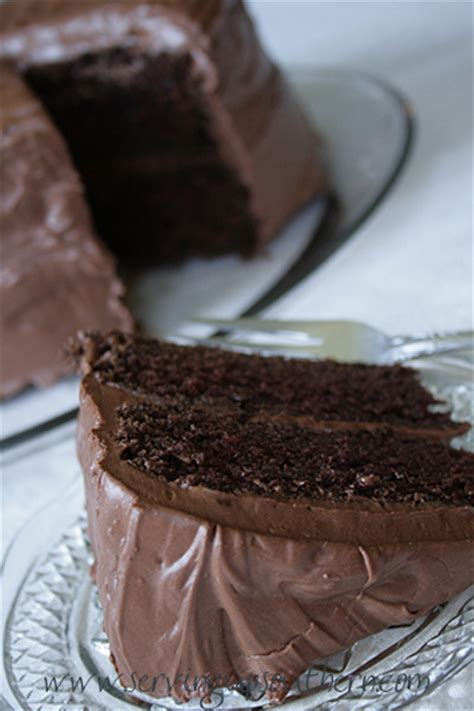 chocolate buttermilk cake serving  southern