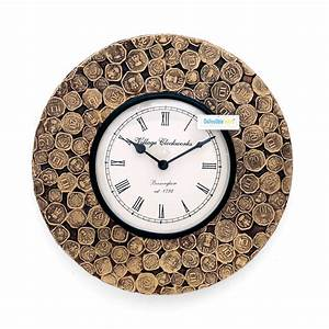 Buy, Collectible, India, 12, Antique, Coins, Studded, Wall, Clock, Unique, Decorative, Analog, Clock, Brass