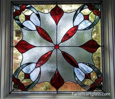 stained glass window   red flower pattern