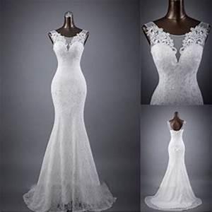 elegant sleeveless mermaid lace up popular lace wedding With white elegant wedding dresses