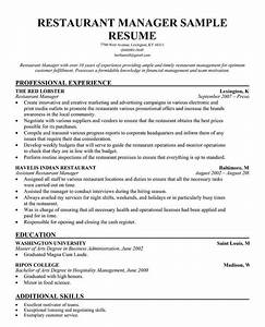 Restaurant Management Resume Examples Restaurant Manager Resume Template Business Articles