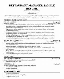 Restaurant manager resume template restaurant management for Resume templates for restaurant managers