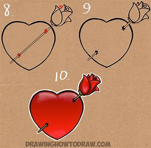 How to Draw a Heart with a Rose Piercing it Like an Arrow ...