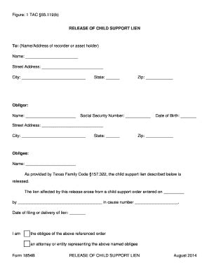 child support waiver form lien release form templates fillable printable sles