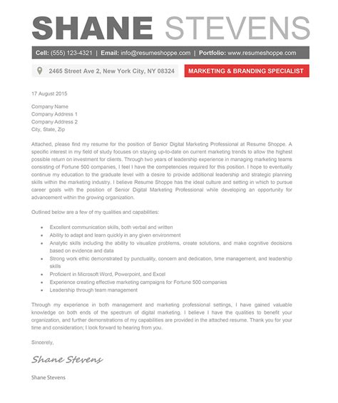 shane cover letter creative resume template