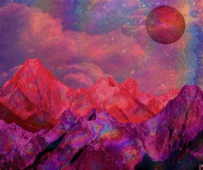 Trippy Psychedelic Space Acid Lsd Moon Mountains