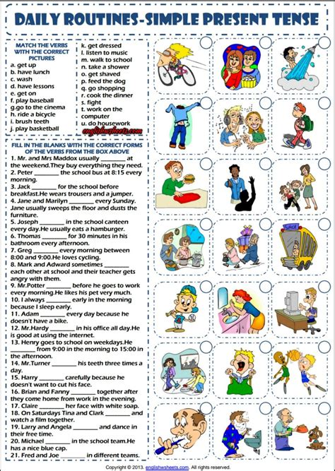 daily routines simple present tense esl worksheet esl 2