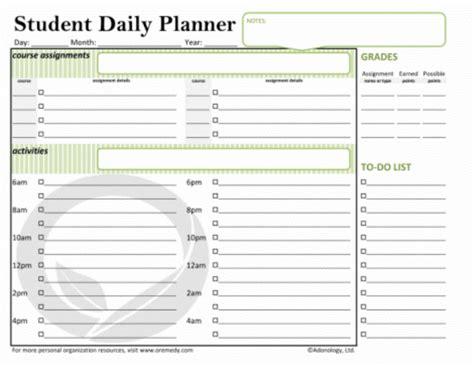 student planner template 5 student planner template procedure template sle