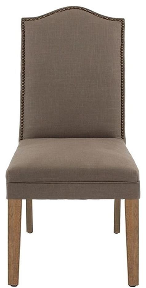 custom camel back parsons chair with nailhead trim ash