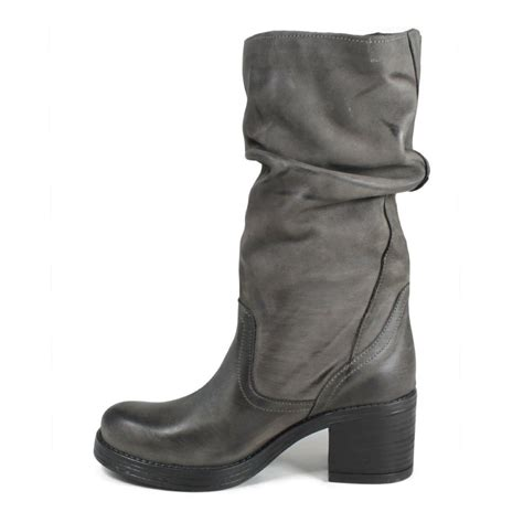 real leather biker boots biker boots heel in genuine leather gray fall winter