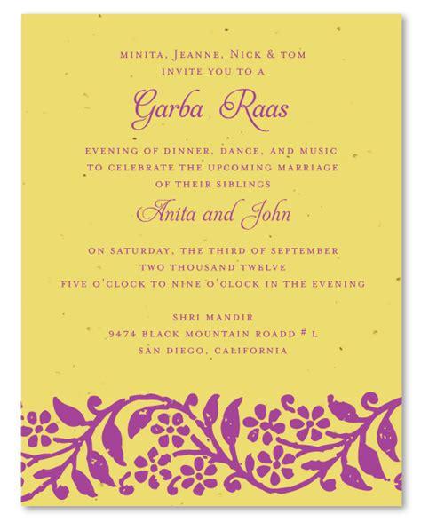 indian wedding invitations  plantable paper raas garba