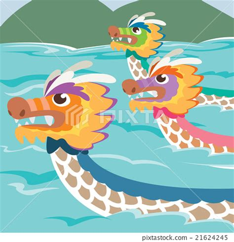 Dragon Boat Racing Ta by Dragon Boat Racing In Cartoon Illustration Style 插圖素材