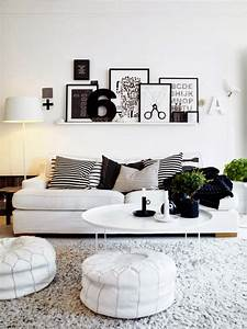 living room interior design with black and white furniture With black and white interior design living room
