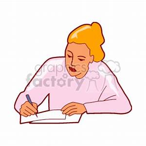 Woman Writing Book Clipart