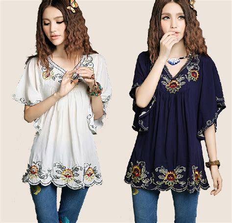 new summer 2018 vintage mexican ethnic flower embroidery boho hippie butterfly sleeve blouse