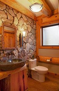 30 exquisite and inspired bathrooms with stone walls With log cabins with bathrooms