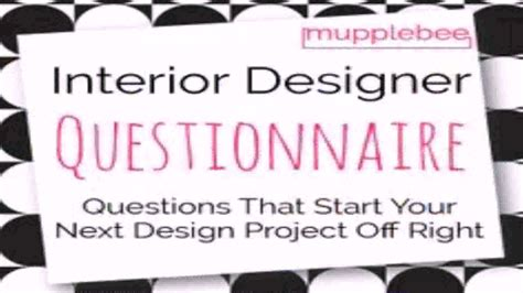 residential interior design client questionnaire youtube