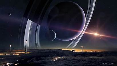 Planet Space Rings Spacescapes Planetary Moon Wallpapers