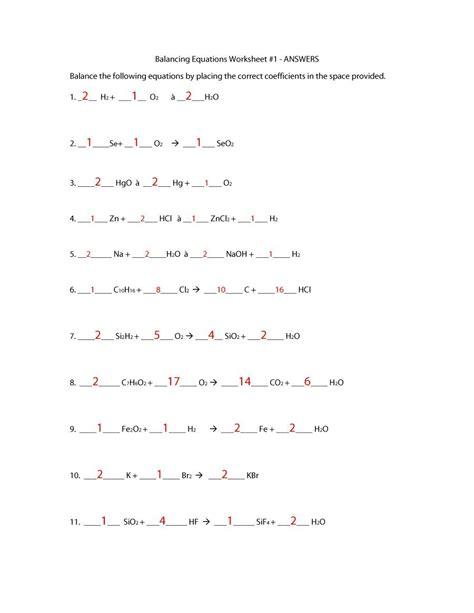 balancing chemical equations worksheets  answers
