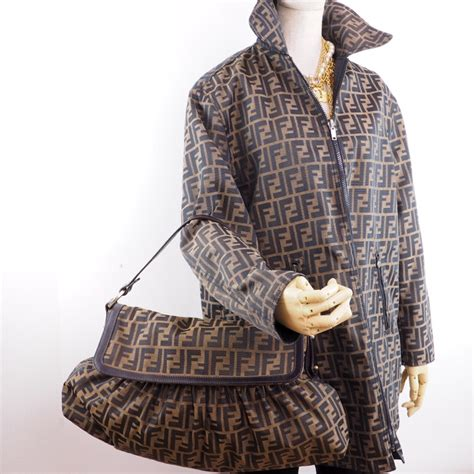 vintage fendi zucca monogram canvas unisex reversible coat