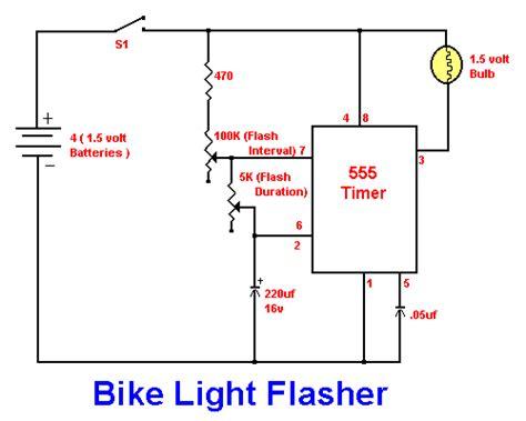 bike light flasher using 555 ic simple schematic diagram
