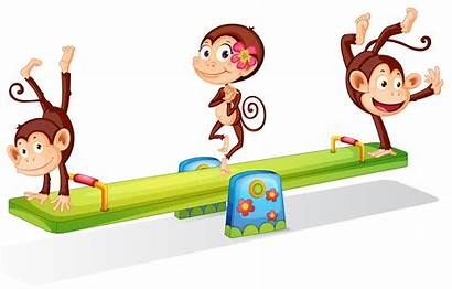 Playing Seesaw Monkeys Playful Three Clipart Illustration