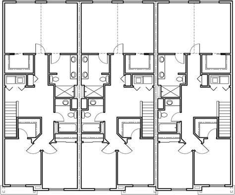 Overall we are very happy with the new design and row house floor plans. Triplex House Plans, Craftsman Exterior, Row House Plans, T-401