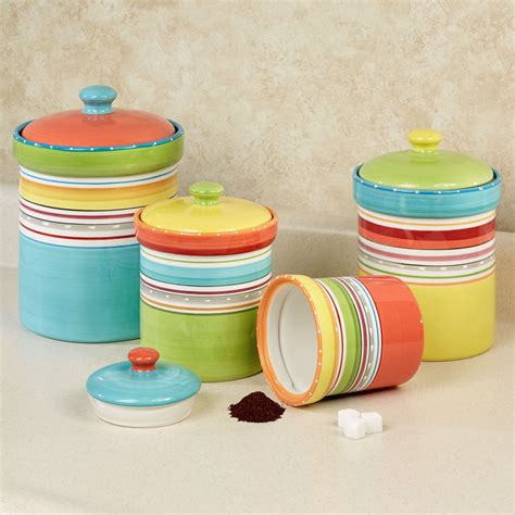 colorful kitchen canisters sets mariachi striped colorful kitchen canister set
