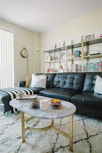 Glitter inc home tour marbles black leather sofas and for Decorate living room black leather furniture