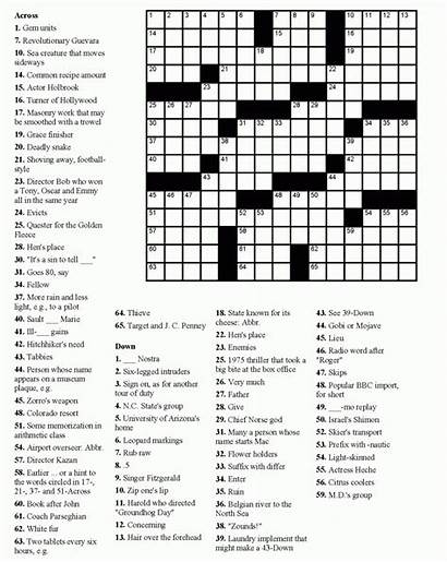 Puzzles Crossword Adults Printable Pages Coloring Seniors