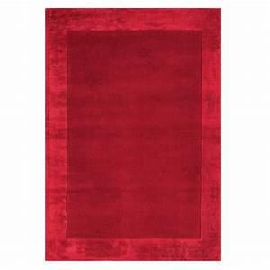 tapis moderne rouge en laine et viscose With tapis en viscose