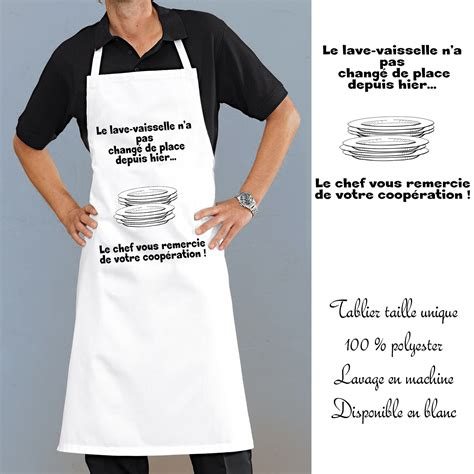 tablier cuisine homme humoristique tablier cuisine lave vaisselle avec message rigolo en
