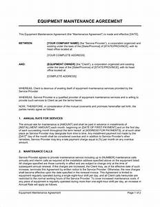 equipment maintenance agreement template sample form With monthly service contract template