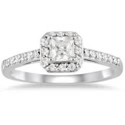 princess cut engagement rings 1 carat princess cut halo engagement ring jewelocean