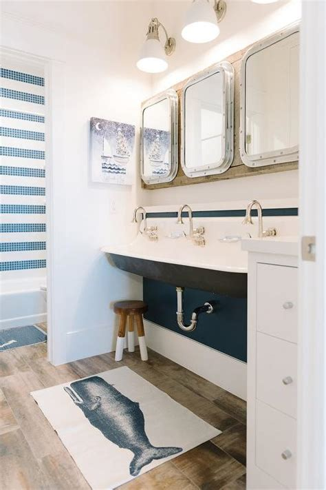Shared Kids Bathroom With Black Trough Sink Cottage