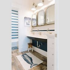 Shared Kids Bathroom With Black Trough Sink Cottage