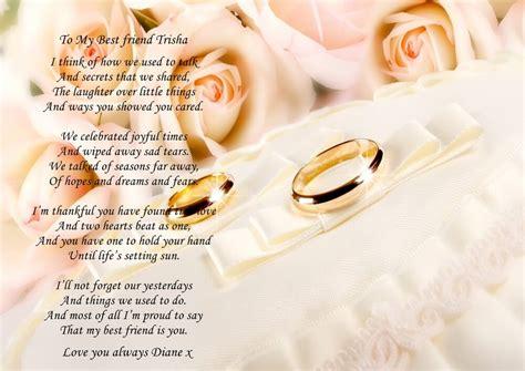 personalised  poem    friend   wedding day
