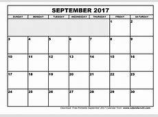 September 2017 Calendar weekly calendar template