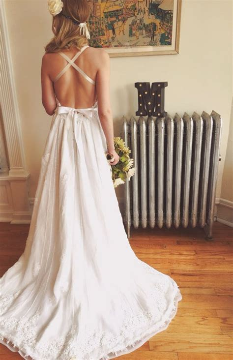 backless bohemian wedding dress pictures