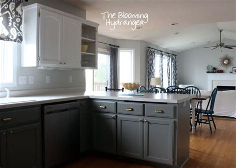 pictures of kitchen cabinets painted gray from oak to awesome painted gray and white kitchen