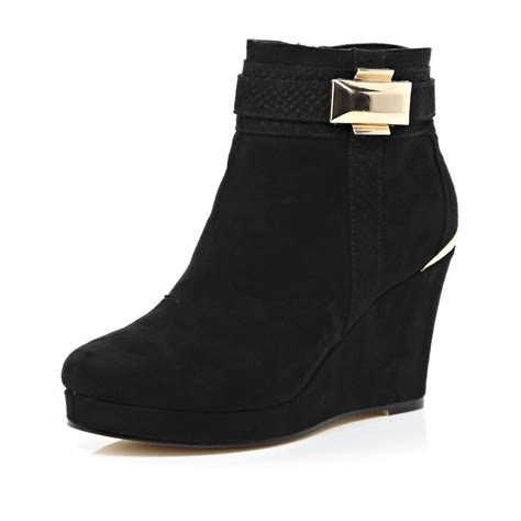d island shoes boots black lyst river island black metal trim wedge ankle boots in