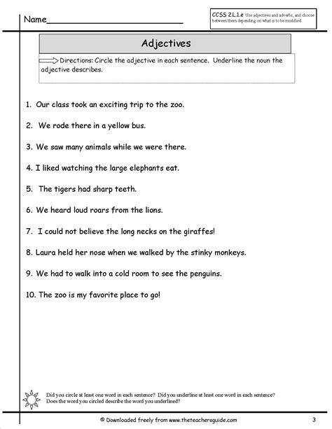 adjectives worksheets from the s guide