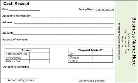 payment receipt template free word templates