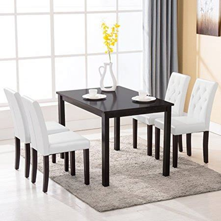 5 dining table set 4 chairs kitchen room breakfast