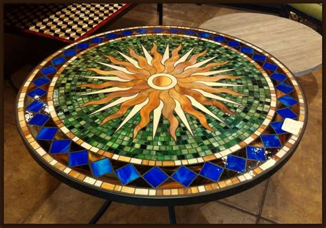 Mosaic Tile Outdoor Table by Tile And Glass Mosaic Tables Mosaics Mosai